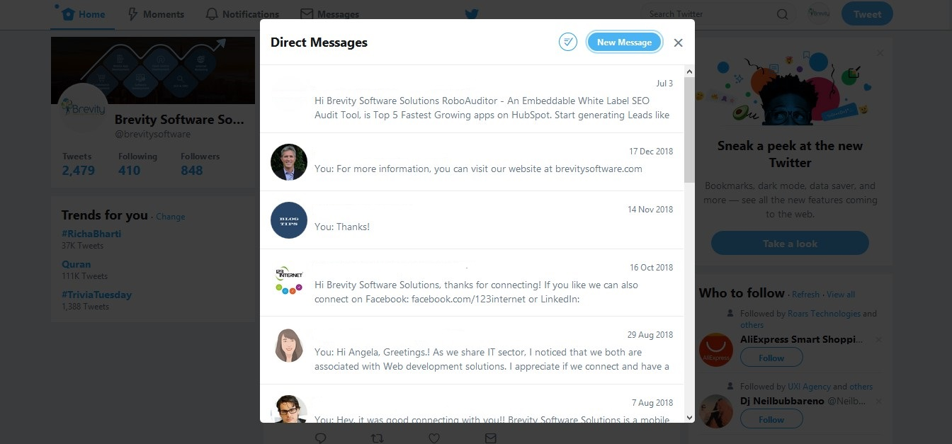 Direct messages old UI